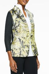 Jungle Print Jacquard Sleeve Knit Jacket