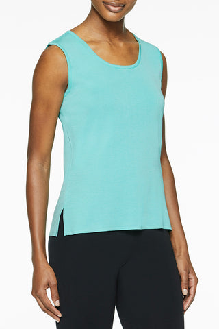 Mid-Length Scoop Neck Knit Tank, Mint Green