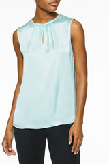 Pleat Neck Crepe de Chine Blouse, Mint Green