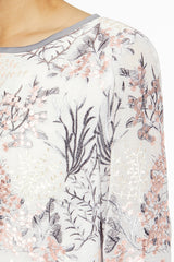 Floral Embroidered Lined Sheer Woven Tunic Color White/Sterling Grey/Ballet Pink