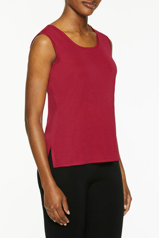 Mid-Length Scoop Neck Knit Tank, Roselle Pink Color Roselle Pink
