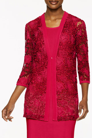 Knit Trim Floral Lace Jacket Color Hot Roselle Pink