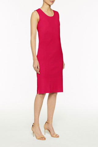 Sleeveless Knit Sheath Dress, Hot Roselle Pink Color Hot Roselle Pink