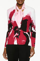 Floral Painted Knit Jacket Color Pink Roselle/Black/Candy Pink/White