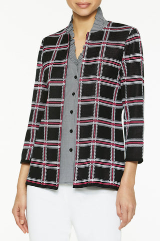 Bold Windowpane Knit Jacket Color Black/Roselle Pink/White