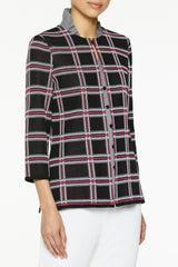 Plus Size Bold Windowpane Knit Jacket Color Black/Roselle Pink/White