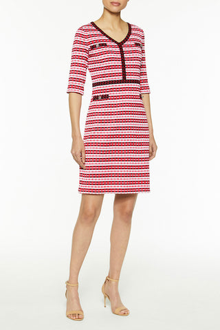 Multi-Stripe V-Neck Knit Dress Color Candy Pink/Black/Roselle Pink/White