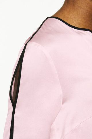 Split Sleeve Crepe de Chine Blouse Color Candy Pink/Black
