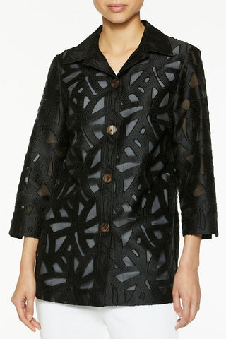 Abstract Burnout Woven Jacket Color Black