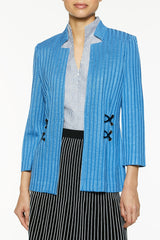 Waist Detail Knit Jacket Color Blue Smoke/Black