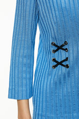 Plus Size Waist Detail Knit Jacket Color Blue Smoke/Black