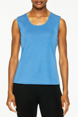 Mid-Length Scoop Neck Knit Tank, Blue Smoke Color Blue Smoke