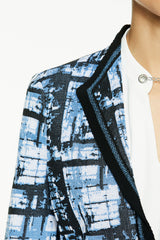 Broken Grid Knit Jacket Color Blue Smoke/Black/White
