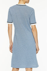 Multi Stitch Knit Dress Color Blue Smoke/Black/White