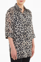 Cheetah Print Crepe de Chine Blouse Color Java/Black/Creme Brulee