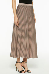 Two Tone Knit A-Line Skirt Color Java/Black