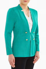 Tailored Texture Knit Jacket Color Malachite