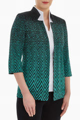 Plus Size Ombre Herringbone Knit Jacket Color Malachite/Black