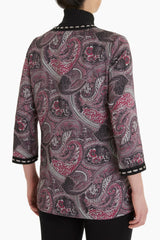 Plus Size Printed Paisley Crepe De Chine Jacket Color Black/Coffee/Limestone/Mink/Rosewood