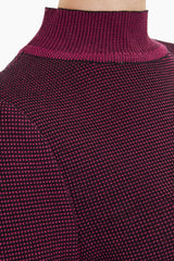 Dobby Pattern Mock Neck Knit Tunic Color Rosewood/Black