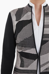 Abstract Stripe and Swirl Knit Jacket Color Mink/Limestone/Black