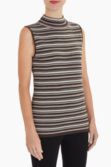 Multi Stripe Mock Neck Knit Tank Color Mink/Coffee/Black/Limestone