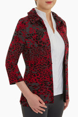 Plus Size Animal Print Ruffle Collar Knit Jacket Color Firecracker/Granite/Black