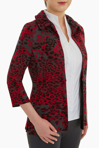 Animal Print Ruffle Collar Knit Jacket Color Firecracker/Granite/Black