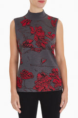 Shadow Floral Mock Neck Knit Tank Color Granite/Firecracker