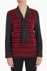 Pattern Tie Neck Woven Tunic Color Firecracker/Black