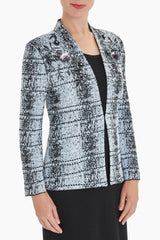 Plus Size Shadow Plaid Floral Embellishment Jacket Color Misty Blue/Granite/Black