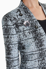 Shadow Plaid Floral Embellishment Jacket Color Misty Blue/Granite/Black
