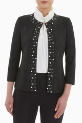 Pearl Trim Knit Jacket Color Black