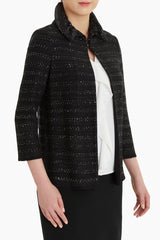 Plus Size Striped Sequin Accent Knit Jacket Color Black