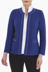Textured Chain Trim Knit Jacket Color Majestic Blue