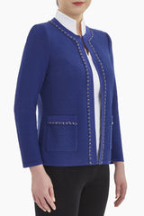 Plus Size Textured Chain Trim Knit Jacket Color Majestic Blue