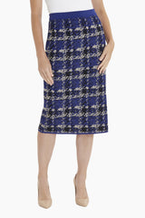 Plaid Knit Skirt Color Majestic Blue/Twig/Black