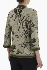Floral Jacquard Knit Jacket Color Cactus/Gold/Black