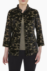 Ruffle Neck Velvet and Lurex Jacket Color Black/Gold