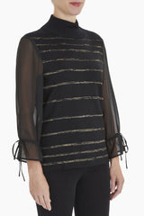 Sheer Striped Sleeve Knit Tunic Color Black/Gold