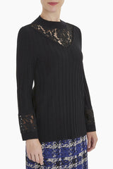 Lace Accent Mock Neck Knit Tunic Color Black