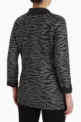Plus Size Zebra Print Reversible Crinkle Jacket Color Mink/Black