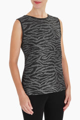 Plus Size Zebra Print Reversible Crinkle Tank Color Mink/Black