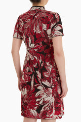 Qipao Jacquard Floral Dress Color Firecracker/Twig/Black