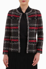 Plus Size Mixed Tweed Jacket Color Firecracker/Black/Ivory