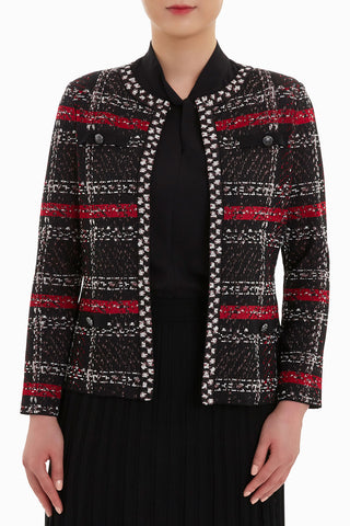 Mixed Tweed Jacket Color Firecracker/Black/Ivory