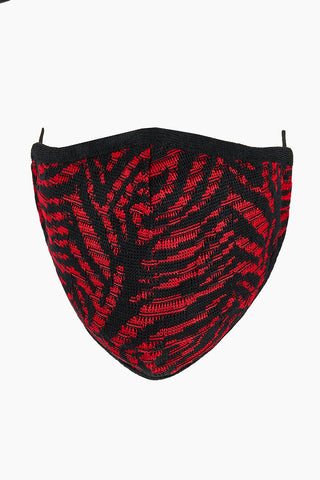 Tiger Swirl Knit Washable Face Mask in Firecracker/Black