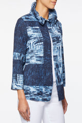 Ruched Neck Crinkle Jacket – Ming Wang