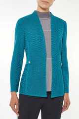 Tonal Textured Animal Solid Knit Jacket – Ming Wang