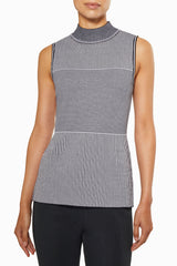 Dimensional Striped Mock Neck Knit Tank